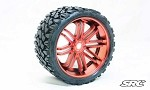 Monster Truck Terrain Crusher Belted tire preglued on RED wheel 2pc set