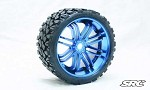 Monster Truck Terrain Crusher Belted tire preglued on BLUE wheel 2pc set