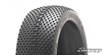 8th Buggy Dirt effect Extra Soft Blue dot 4pc tire set with Pre-glued options. 303B