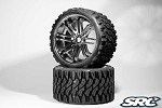 Monster Truck Terrain Crusher Belted tire preglued on SILVER wheel 2pc set