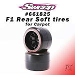 F1 Rear Soft Carpet compound V6 Low Profile 2pcs pre-glued tires set