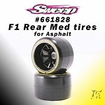 F1 Rear Medium Asphalt compound V6 Low Profile 2pcs pre-glued tires set