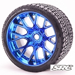 Monster Truck Road Crusher Belted tire preglued on WHD Blue Chrome wheel 2pc set