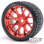 Monster Truck Road Crusher Belted tire preglued on WHD Red Chrome wheel 2pc set