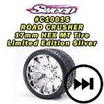 Monster Truck Road Crusher Belted tire preglued on WHD Silver Chrome wheel 2pc set