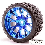 Monster Truck Terrain Crusher Belted tire preglued on WHD Blue Chrome wheel 2pc set