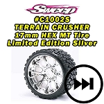 Monster Truck Terrain Crusher Belted tire preglued on WHD Silver Chrome wheel 2pc set
