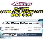 Gift certificates $1000.00 Printed
