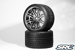 Monster Truck Road Crusher Belted tire preglued on SILVER wheel 2pc set