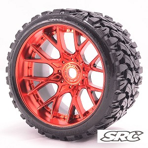 Monster Truck Terrain Crusher Belted tire preglued on WHD Red Chrome wheel 2pc set