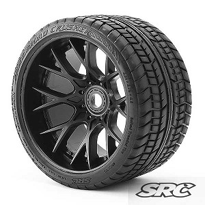 Monster Truck Road Crusher Belted tire preglued on WHD Black wheel 2pc set