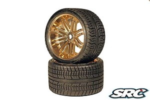 Monster Truck Road Crusher Belted tire preglued on GOLD wheel 2pc set