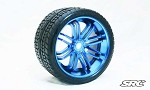 Monster Truck Road Crusher Belted tire preglued on BLUE wheel 2pc set