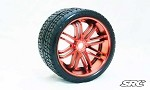 Monster Truck Road Crusher Belted tire preglued on RED wheel 2pc set