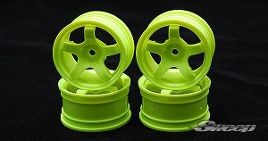 Sweep Minis Wheels 5 Spoke Yellow 4pc set. SW0011