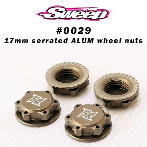 Sweep 17mm 8th scale Light Weight Hard Anodized Wheel serrated Nuts (4)
